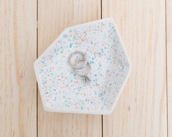 Large Geometric Ceramic Ring Dish - Individual - Sprinkles