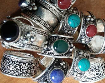 Tibetan silver /Antique / Gemstone/Handmade/Men/Women open ring. One size. Different colours of gemstone.