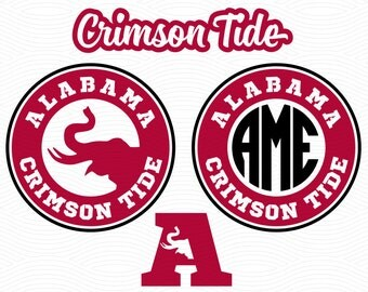 Alabama Crimson Tide Monogram Frame (SVG, EPS, DXF, Studio3) Cut Files for use with Silhouette Studio, Cricut Design Space, Cutting Machines