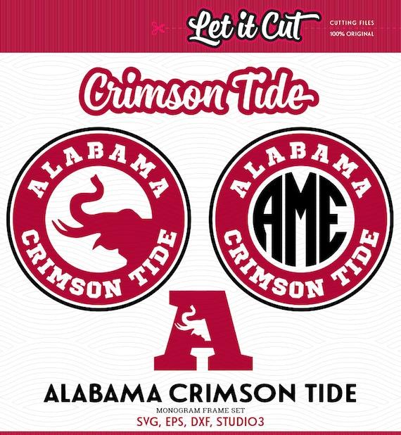 Alabama Crimson Tide Monogram Frame Svg Eps Dxf Studio3