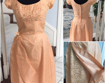 Vintage 1960 Peach Dress with Details at Waist and Skirt  NWOT  Small/Medium