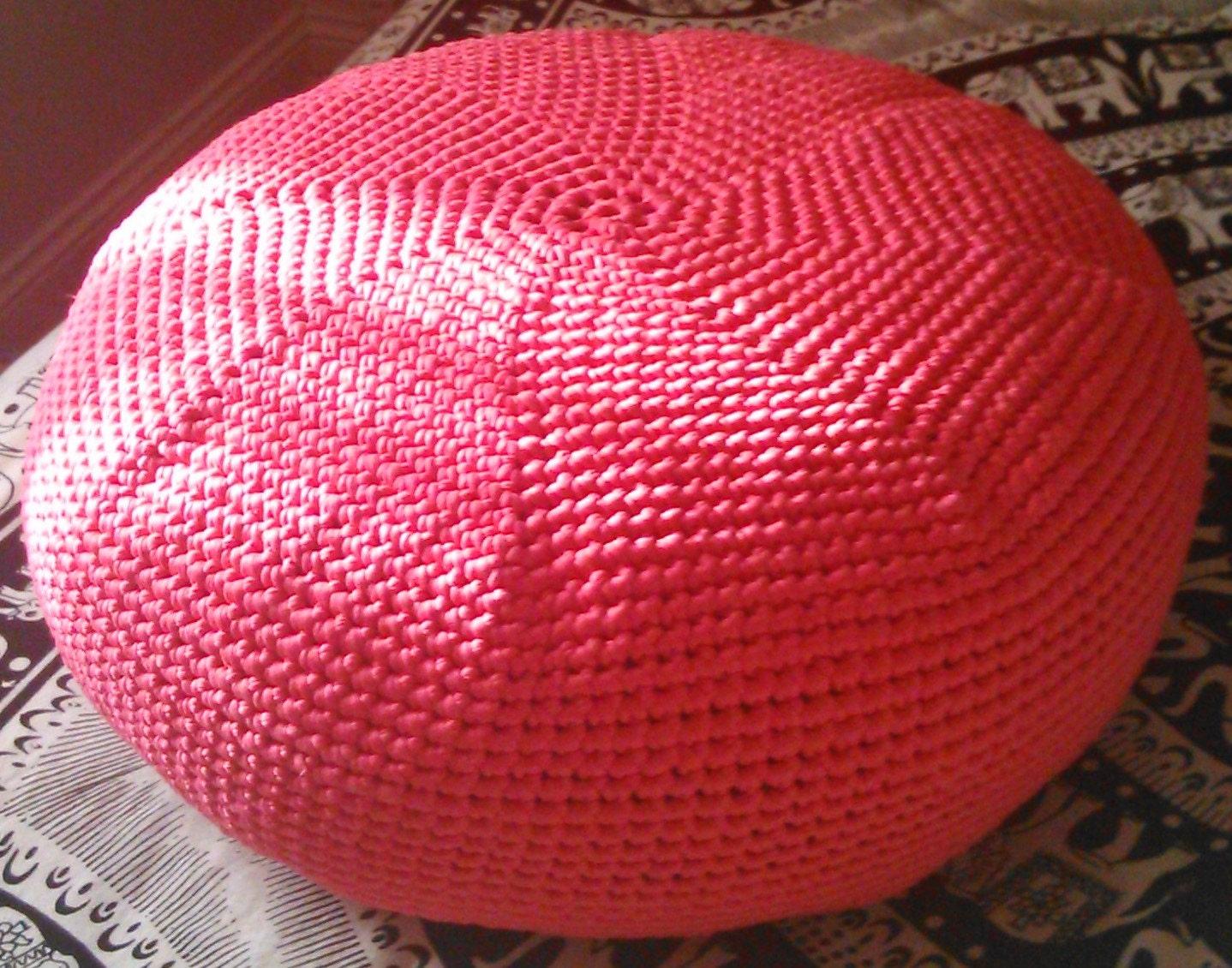 Knitted crochet pouf pouffe pink ottoman footstool in deep hot - Knitted pouf ottoman pattern ...