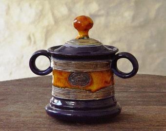 Handmade Sugar bowl, Ceramics and Pottery Sugar Bowl with Lid, Sugar box, Sugar Cellar, Tea Set, Sugar Keeper, Blue and Orange Sugar Bowl