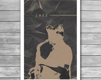 Jazz Art Poster, Jazz Poster, Music Poster, Jazz Print, Music Print, Minimal Art, Art Print, Fine Art Print, Music Illustration, Saxophonist