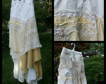 Boho skirt ,upcycled skirt ,fairy skirt,jean skirt ,tattered skirt,  lace skirt,barn wedding skirt,funky,mori girl skirt,altered couture
