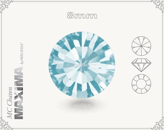 6 pc.+ SS39 (8mm) Preciosa MC Chaton MAXIMA - Aqua Bohemica Color