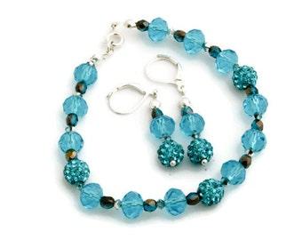 Scuba blue jewelry set (earrings + bracelet)