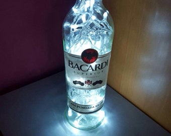 Upcycled Bacardi Rum bottle lamp by JCLamps