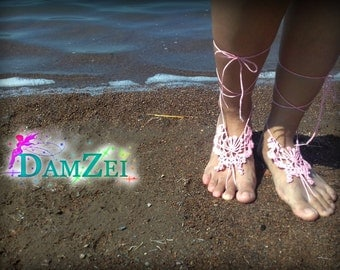 Butterfly Barefoot Sandal, Crocheted Heart Anklet, Pink Barefoot Sandal, Lace Barefoot Sandal, Barefoot Anklet, Foot Jewelry