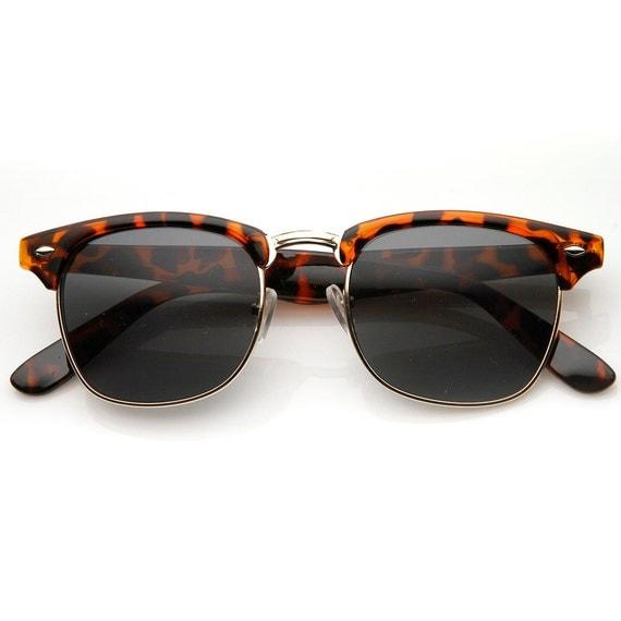 Half Frame Tortoise Shell Glasses : Tortoise Shell Frame Vintage Half Rim Wayfarer Sunglasses