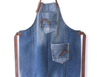 sturdy blue denim and brown leather apron with two pockets! leather denim apron, denim unisex apron,work apron, crafters apron, gift for him