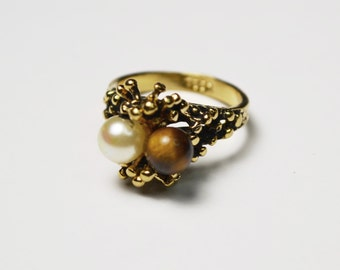 Vintage CCI Tiger Eye and Pearl Ring