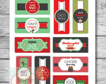 PRINTABLE PDF Digital Coupons for DAD Christmas Themed