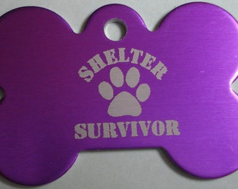Dog ID Tag Custom Laser Engraved Personalized Pet ID Tag Shelter Survivor