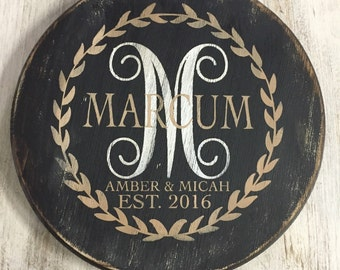 Round Wooden Name wall art