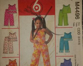 McCall's M4496 Little Girls Capri Pants,  Sleeveless Top,  Pants Set.  Size 2-3-4-5
