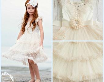 Flower Girl dress, Ivory flower girl dress, Rustic flower girl dress, Boho flower girl dress, shabby chic flower girl, Country flower girl