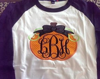 Baseball Tee with Monogram Pumpkin