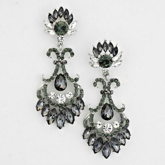 bridal earrings chandelier earrings black and gray by