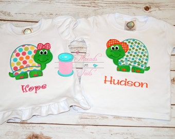 Cute Boy or Girl Turtle Applique Shirt, Girl Turtle Applique, Boy Turtle Applique, Animal Applique Shirt