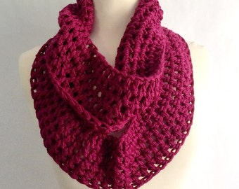 Knitted Scarf, Red Knit Infinity Scarf, Crochet Infinity Scarf, Red Infinity Scarf, Winter Scarf, Birthday Gift For Wife, Christmas in July