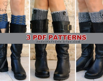 Three crochet patterns: Leg warmers pattern #2 + Gray leg warmers pattern #3 + Leg warmers with button pattern #20
