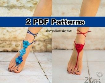 Crochet patterns - two crochet barefoot sandals patterns (Red Heart Barefoot Sandals #28 + Blue Flowers BAREFOOT SANDALS #29)