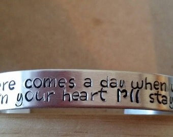 """Handstamped Winnie the Pooh Quote Cuff """"If ever there comes a day we can't be together, keep me in your heart I'll stay there forever"""""""