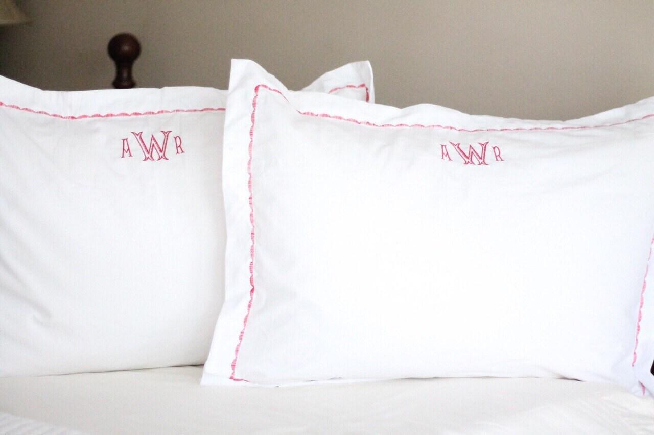 monogrammed pillow sham standard or king size sham. Black Bedroom Furniture Sets. Home Design Ideas