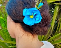 """Hair Accessory  """"Blue fairy"""". Real silk pansy flower. Unique bridal accessories for Autumn Wedding.  Bridesmaid gift. Flower Girl, Garden"""