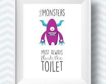 kids bathroom rules, bathroom printables, bathroom printable, Bathroom art, kids art printable, childrens bathroom art, little monsters art