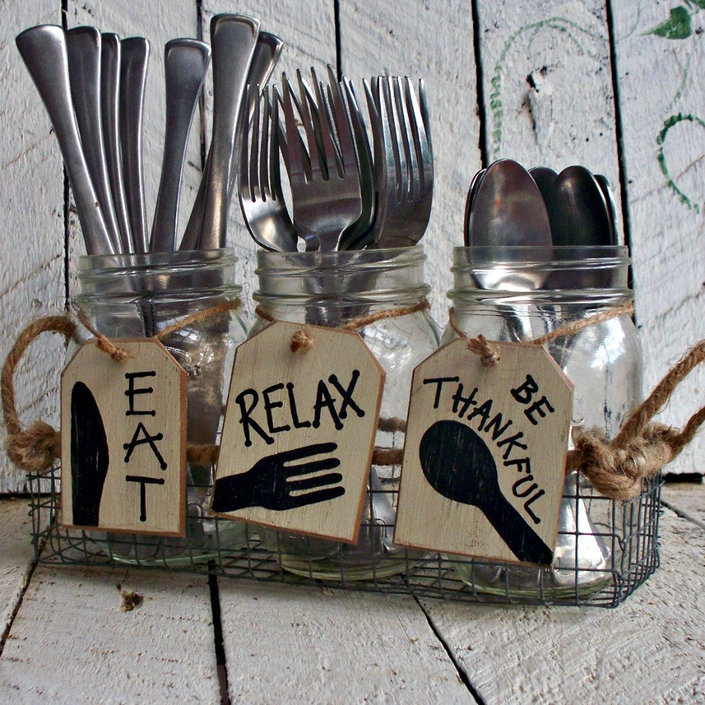 silverware holder tags mason jar caddy labels utensil. Black Bedroom Furniture Sets. Home Design Ideas