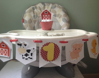 Farm, Barn, Cow, Pig 1st or 2nd Birthday Party Highchair Banner