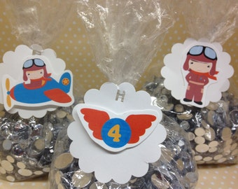Pilot, Plane, Helicopter Party Favor or Candy Bags with Tags - Set of 10