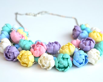 FREE EARRINGS! Summer peony flower floral necklace. Wedding bridal peonies necklace earrings. Purple white pink mint yellow necklace