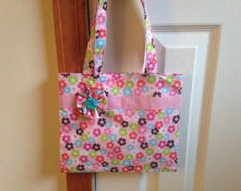 Pink Floral Girls Tote Bag, Little Girls Tote Bag, Toddler Tote Bag, Girls Purse, Little Girls Purse, Toddler Purse, Girls Quiet Bag