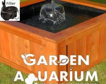 Raised Square Garden Fish Pond / Water Feature (700 Litres) with All in One UV Filter and Fountain