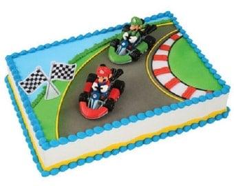 Super Mario Kart Cake Topper Decoration Set Mario & Luigi Super Mario Kart Cake Kit
