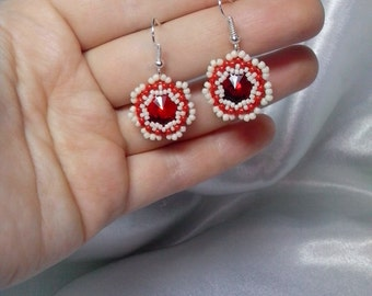 Seed bead earrings beaded jewelry Small red and beige Disk beadwork dangle with a large glass crystal Rivoli Beading weaving gift idea