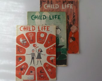 Lot of 3 Vintage 1963 Child Life Magazines Grolier Society