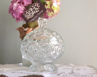 Moon and Stars Footed Clear Glass Candy Dish- Vintage Mid Century Candy Dish