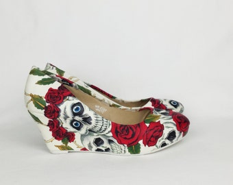 Skull and roses wedge shoes, alternative bride custom made to order wedge shoes