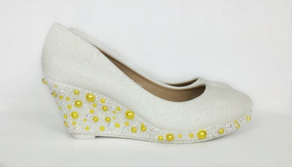 white glitter bridal shoes white and yellow pearls glitter