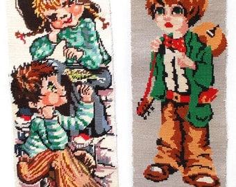 2 Vintage Needlepoints //  Big Eye Kids  \\  (4303