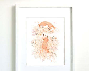 Fox | Fox artwork | Fox art print | wall decor art print | wall decoration | nursery wall art | children wall decor | Illustration