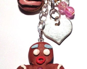 sweets in polymer clay on keychain