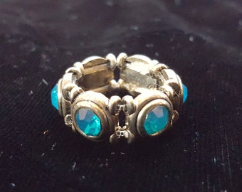 Silver Ring with Teal Rhinestones