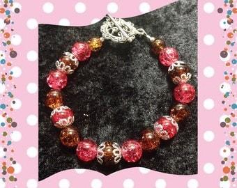 Handmade pink and brown bracelet