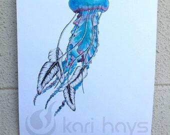 Surreal Watercolor Jellyfish Print