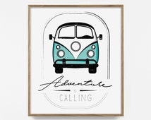 Adventure is Calling, VW Van, VW bus, Printable, Bohemian Print, Vintage Photo, Turquoise Decor, Teal Wall Art, Hippie, Poster, retro decor